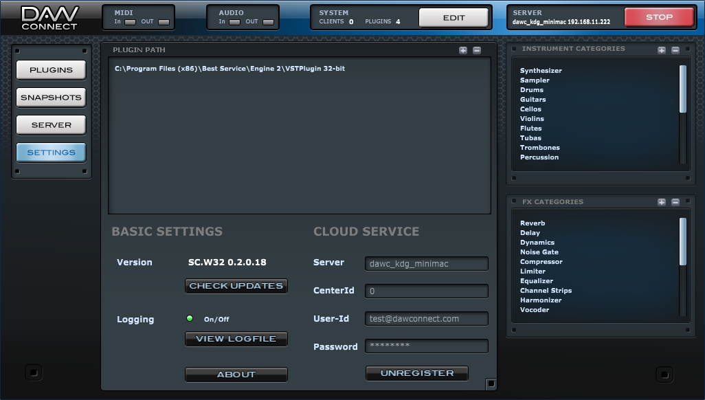 DAWconnect Studio Server - Settings panel